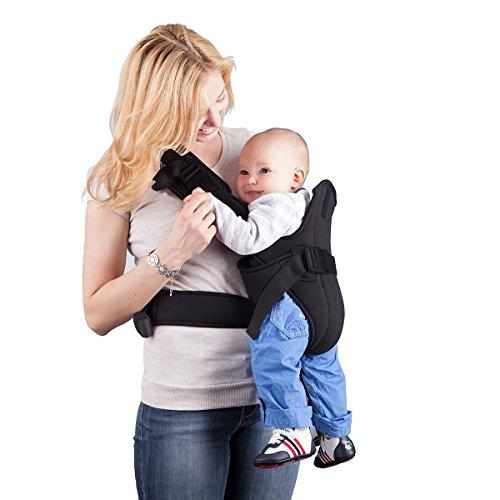 Babytrage, MixMart 6-in-1 Kindertrage als Bauchtrage, Rückentrage und Hüfttrage Geeignet für Neugeborene, Säuglinge & Kleinkinder (3.5-13 KG, 3-18 Monate) (Schwarz)