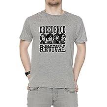 Erido Creedence Clearwater Revival Hombre Camiseta Cuello Redondo Gris Manga Corta Todos Los Tamaños Mens Grey