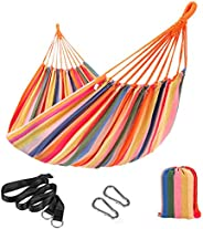 SONGMICS Hammock, 210 x 150 cm, Double Hammock with Fastening Straps and Carabiners, 300 kg Load Capacity, for