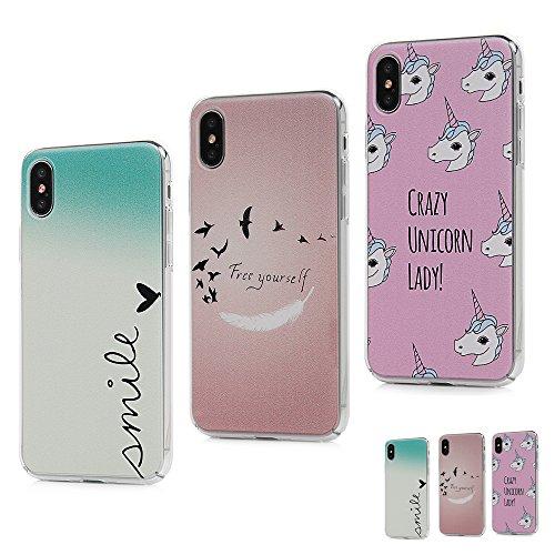 MAXFE.CO Schutzhülle Bumper Case für iPhone X PC Hardcase Plastik Tasche Handyhülle Backcover mit Gemalt Muster Ballon + Rose + Mädchen Herz + Pferd + Feder