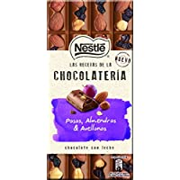 NESTLÉ Les Recettes de L'Atelier Chocolate con Leche Pasas Avellanas y Almendras - Tableta de Chocolate 195g