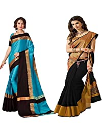 Indian Beauty Silk Combo Of 2 Saree With Blouse Piece (Ibcombo-058_Multicolor_Free Size)