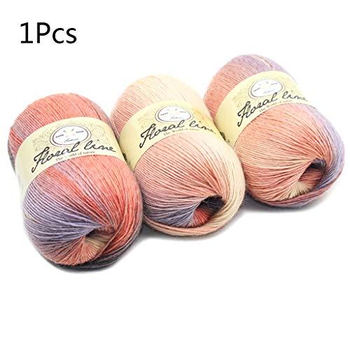 Fafalloagrron, morbido filato pettinato, fai da te per lavori a maglia, scialle di lana per bambini, scialle e uncinetto, colori arcobaleno sfumati, 100 g 3