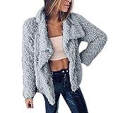 IMJONO Womens Drape Velvet Jacket Open Front Cardigan Coat mit Taschen (Medium,Grau)
