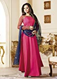 Touch Trends Women's Silk Salwar Suit With Flare Style (Anarkali Syle) Salwar Suit Set (L-1603_Fuchsia_Free Size)