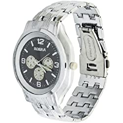 Men Black Round Dial Silver Tone Watchband Quartz Watch Gift