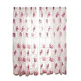 Clispeed Tenda Tulle Oscurante con Motivi Florealie per Soggiorno Camera 100x200cm (Rosa)