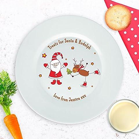 Personalised Mince Pie Piatto, Babbo Natale e