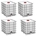 IBC Set 4 x 1000l Container auf Stahlpalette Zustand gebraucht, hochdruckgereinigt