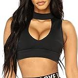 OYSOHE Damen Fitness West, Neueste Frauen Reizvolle Sport übersteigt Weste O Ansatz Art und Weise Camisole Sleeveless Bandge T-Shirt (XL, Schwarz)