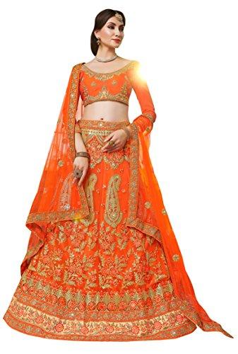 Women'S Orange Color Embroidered Lehenga KNSH24707