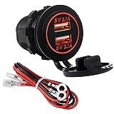 YGL Impermeabile 2 Dual USB presa 2.1A &2.1A Porta Presa Caricabatteria per Auto Moto Barca 12/24 Volt Presa LED