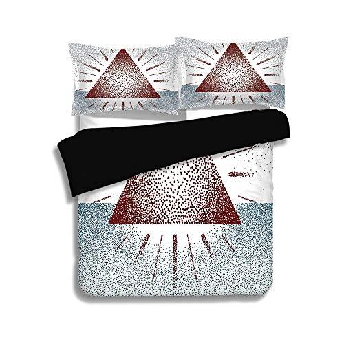 Burgund Grafik (Schwarzer Bettbezug-Set, geometrisches Dekor, digitale Dreiecksform mit Punkten Retro Pyramide spirituelle künstlerische Grafik, Burgund blau, dekorative 3-teilige Bettwäsche Set von 2 Pillow Shams, K)