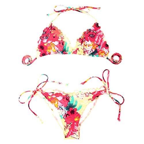 RELLECIGA Damen Bademode Triangel Bikini mit Unterteil im Brasil Style Ruffle Floral Gelb