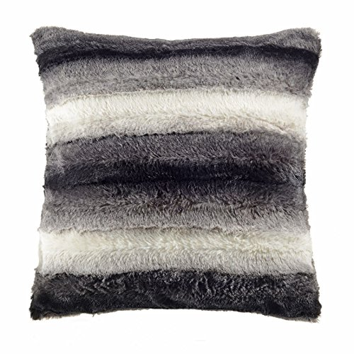 Faux Fur Rabbit Throws / Cushion Covers Soft & Comfy Material (Charcoal Cushion Only)