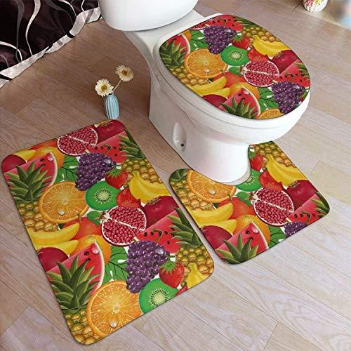 RedBeans Anti-Rutsch-Badteppich-Set, 3-teilig, Flanell, exotische Tropische Frische Reife Saftige Fruits Weicher WC-Vorleger Set