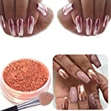 Polvere glitter per nail art per effetto unghie cromate, colore oro rosa