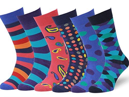 Easton Marlowe 6 Paar Bunt Gemusterte Herren Socken - 6pk 6, gemischt - helle Farben, 43-46 EU Schuhgröße