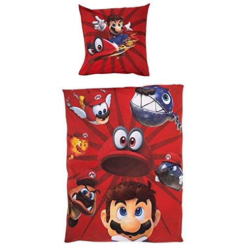 Unbekannt Original Super Mario Odyssey Linon Wende-Bettwäsche Garnitur 135x200 80x80 Baumwolle Neu