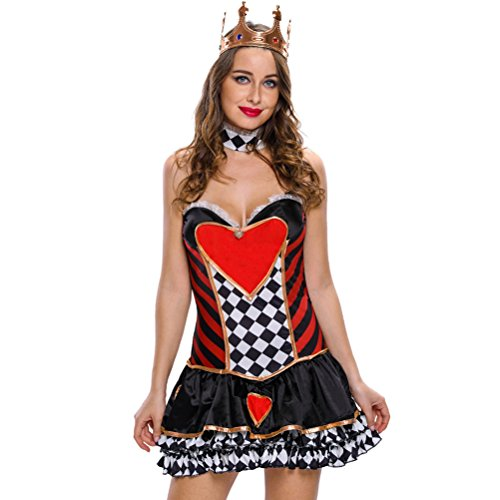 Price comparison product image MEINICE 2pcs Sexy Queen of Hearts Cosplay Costume(Size,S)