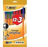 Bic Cristal Lot de 12 + 3 gratuits Stylos bille orange Pointe fine Couleurs assorties (Import Royaume Uni)