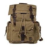 Jonon Vintage toile sac à dos pour hommes en cuir sac à dos sac à dos 17 pouces ordinateur portable fourre-tout sacoche école militaire armée épaule sac à dos sac de randonnée (Vert)