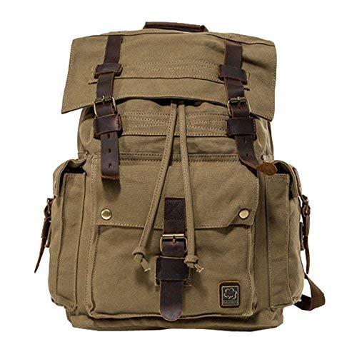 Jonon Vintage lona mochila para hombres mochila de cuero mochila 17 pulgadas portátil cartera...