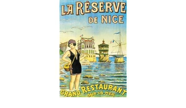 AFFICHE 50X70cm PUBLICITE RETRO GRAND RESTAURANT LA RESERVE DE NICE
