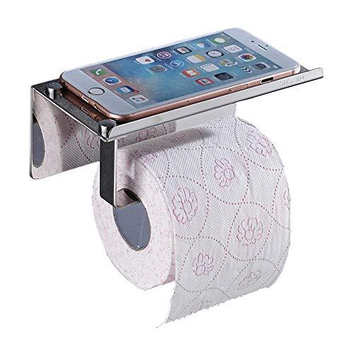 Keybath Toilettenpapierhalter 3M selbstklebend ohne Bohren Chrom Wandmontage mit Handyablage SUS 304 Edelstahl Badezimmer