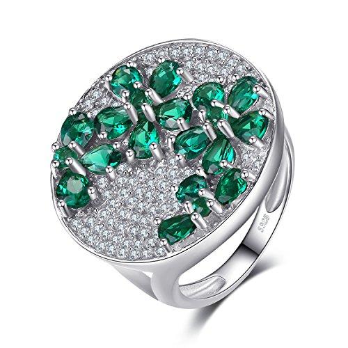 .2ct Synthetisch Grüne Nano Russische Smaragd Finger-Cocktail-Ring 925 Sterling Silber ()