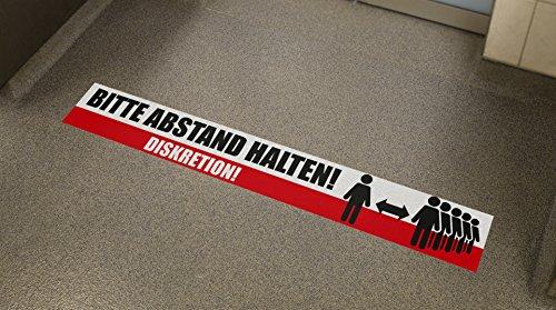Fußbodenaufkleber Bitte Abstand halten Diskretion 70x10cm Aufkleber Bodensticker