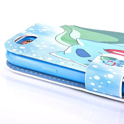 """iPhone 6/6s Pokemon PU-Lederner Schlag Mappen Hülle / Hülle mit Magnetband für Apple iPhone 6s 6 (4.7"""") / Schirm-Schutz und Tuch / iCHOOSE / Pikachu Bulbasur"""