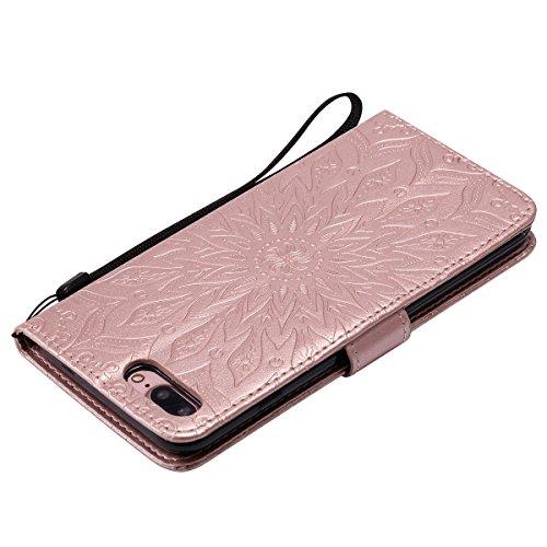 Custodia per Apple iPhone 7 Plus, ISAKEN iPhone 7 Plus Flip Cover con Strap, Elegante Sbalzato Embossed Design in Pelle Sintetica Ecopelle PU Case Cover Protettiva Flip Portafoglio Case Cover Protezio girasole: rose gold