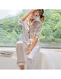 71bc75ce08 HAOLIEQUAN Conjunto De Pijamas De Raso De Seda para Mujer Conjunto De Pijama  De Manga Larga Pijama De Dormir para Dormir Conjunto De 2…