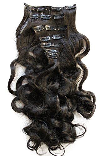 PRETTYSHOP XL 7 Teile Set Clip in Extensions 60cm Haarverlängerung Haarteil gewellt naturschwarz