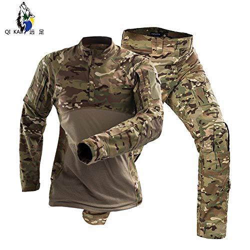QIKAI Taktische Kleidung Herren Frosch Anzug, Special Forces Army Fan Baumwolle tragbare Langarm Kampfanzug (s-XXXL) E-XL