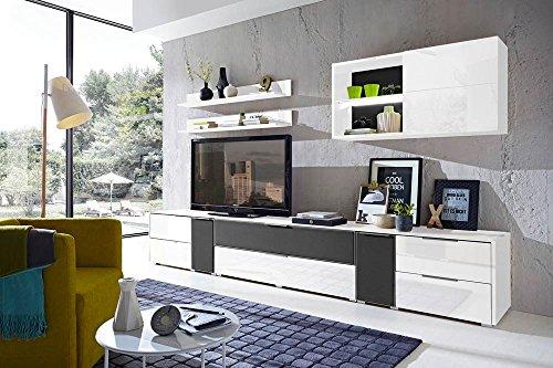 7-tlg Wohnwand in Hochglanz weiß/grau mit Akustik-Fächern und LED-Beleuchtung, Gesamtmaß B/H/T ca. 324/170/51 cm