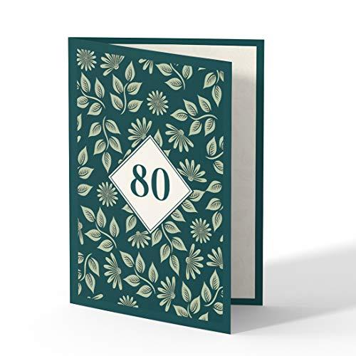 (50 x) Einladungskarten zum 80. Geburtstag Einladungen Karten Klappkarte Edel runder