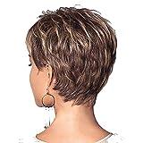 Pelucas de cabello corto esponjosas femeninas doradas del mecanismo de la fibra química femenina del pelo artificial