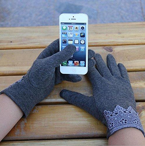 JQAM Guanti donna autunno inverno cotone Business Touchscreen Guida in bicicletta all'aperto più caldi guanti (Scopo Esterno Raso)