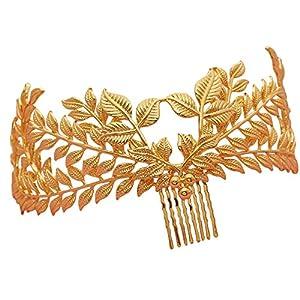 Luxus Hochzeit Tiara Kamm Blätter Braut Haarschmuck Haarkamm Gold