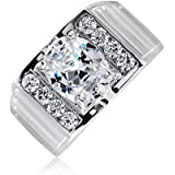 Bling Jewelry Mens Oval CZ Matte Ridges Engagement Ring Rhodium Plated