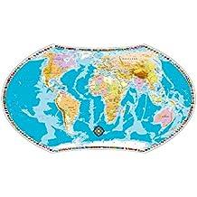 Politische Weltkarte mitphysischen Komponenten für Erwachsene und Kinder: Planokarte in Hülse gerollt, Mehrfarbendruck, flächig glänzend lackiert, abwaschbar