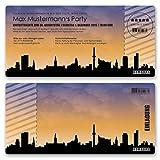 (100 x) Einladungskarten Geburtstag Skyline Hamburg Party Ticket Karte Einladungen