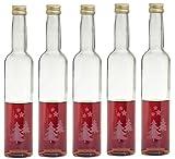 5 leere gravierte Glasflaschen Weihnachtsflaschen 350ml Tannenbaum Weihnachtsbaum Christmas Tree Weihnachten