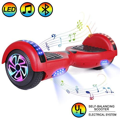 """HOVER-ONE Selbstausgleichender Elektroroller mit 2 Rädern, 6,5""""selbstausgleichendes Hoverboard für Kinder und Erwachsene mit Bluetooth, Swegway-Board mit kostenloser Tragetasche, LED-Licht (Rot)"""