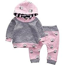Goodsatar Mezcla de algodón Bebés infantes pequeños Conjunto de ropa de la muchacha Historieta rayada Sudadera con capucha y pantalones