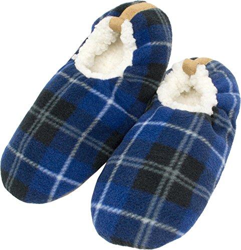 ZEARO Hausschuhe Pantoffeln Lammfell Hausschuhe Herren Karo Winter gefüttert Blau