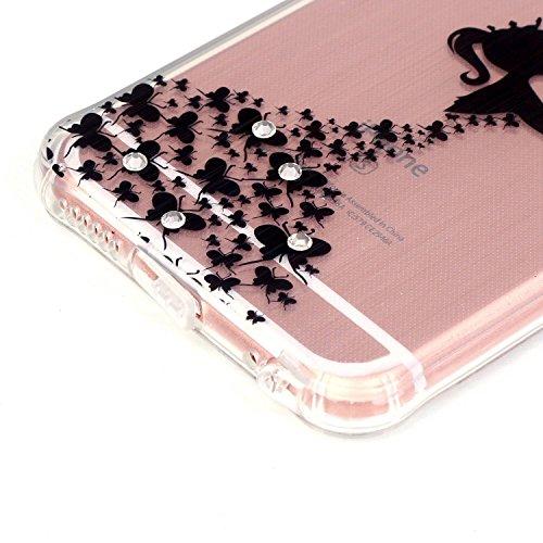 iPhone 6 Plus Coque,iPhone 6S Plus Case - Felfy Ultra Mince Scintiller Glitter Bling Shiny Paillette Coque Back Cover Silicone TPU Etui Housse Slim Cover Etui de Protection Cas en caoutchouc en Ultra  papillon fille