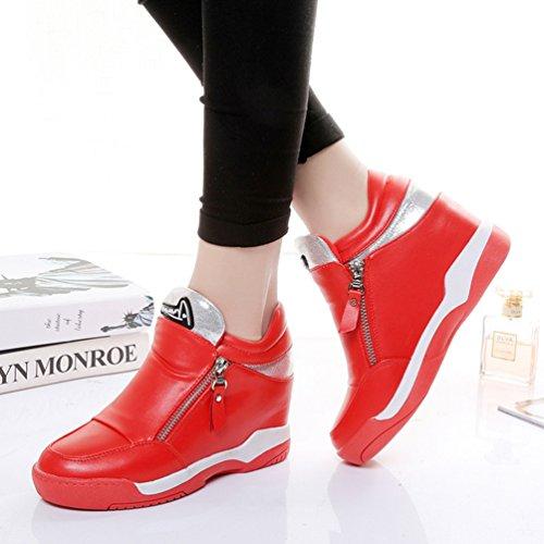 JRenok Chaussure Femme Tête Ronde en Automne Fermeture Éclair Chaussure de Sport au Loisir Sole Antidérapant Rouge
